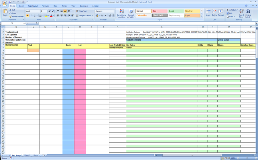 Topic connecting bet angel to your spreadsheet for I need a spreadsheet template