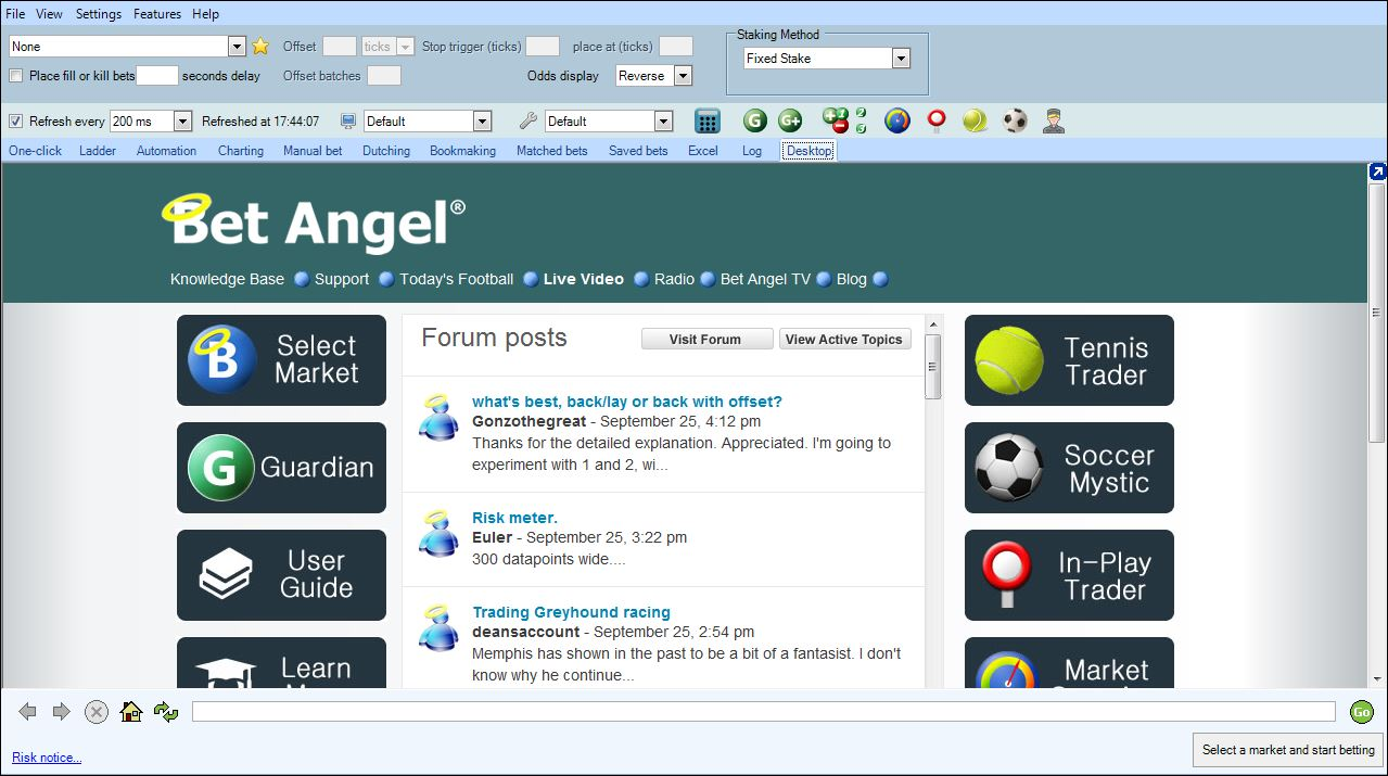 how to green up on bet angel basic